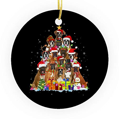 Fastei Christmas Ornament Holiday New Year Season Ugly Boxer Terrier Funny Lover Pets Winter Family for Home Living Room Decoration Kit Tree Outdoor Ceramic Round 3x3in (Pack2/Pack3)
