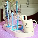 Generic Blue : Soporte para secadora de biberones de bebé, forma simple de árbol, estante de limpieza para estante de cocina, soporte para chupete, pezón o taza
