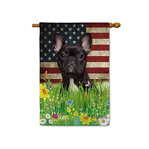 BAGEYOU Cute Puppy Frenchie House Flag Lovely Pet Dog American US Flag Wildflowers Floral Grass Spring Summer Home Decorative Patriotic Banner for Outside 28x40 inch Printed Double Sided
