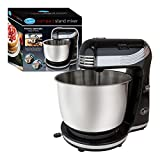 Quest Compact Stand <span class='highlight'>Mixer</span> | 3 Litre | 6 Speed | Stainless Steel Bowl | Dough Hook and Beater | 250W (Black)
