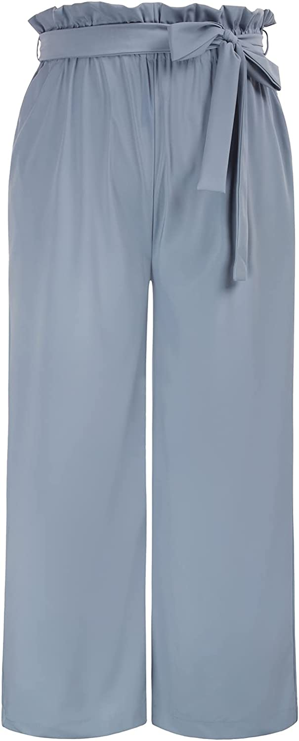 Hanna Nikole Womens Plus Size High Waisted Palazzo Pants Belted Wide Leg Trousers with Pockets