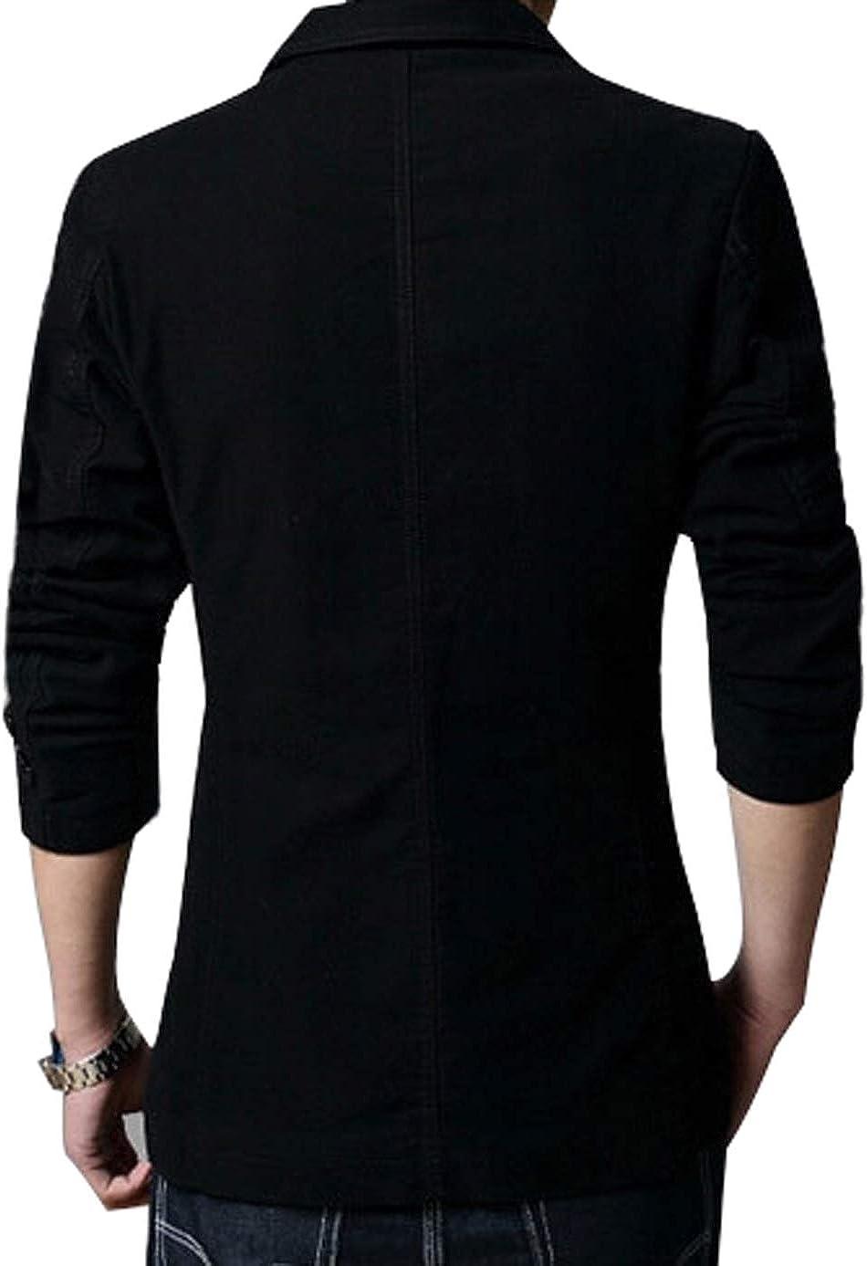 chouyatou Men's Slim 2-Button Single Breasted Cotton Lightweight Blazer Jacket Sport Coat