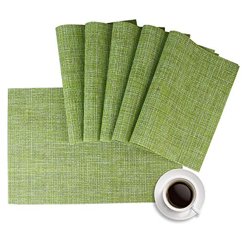 Lifewear Placemat, Crossweave Woven Vinyl Non-Slip Insulation Placemat Washable Table Mats Set of 6(Green)
