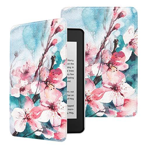 MoKo Funda para Kindle Paperwhite (10th Generation, 2018 Releases), Ultra Delgada Ligera Smart-Shell Soporte Cover Case para Amazon Kindle Paperwhite E-Reader - Flor de melocotón