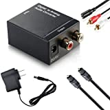 JAMUS Digital to Analog Audio Converter DIF Optical Coax to Analog RCA 2.1 Stereo Audio Converter AdapterOptical Cable and RCA Cable are Included