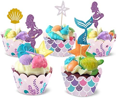 32 Pcs Mermaid Cupcake Toppers and Wrappers Decorations Reversible Scale Cupcake Liners With product image