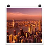 Bilderwelten Poster Wanddeko Hongkong Sunset Quadrat,