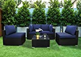 Excited Work 5pcs Outdoor Patio Furniture Set,Wicker Sofa Chairs PE Rattan Thick Cushions Couch with Tea Table and Washable Cushion(Dark Blue)