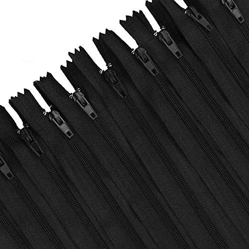 STARVAST 50 Pcs Fermetures Éclair Noir, Fermeture à Glissière en Nylon Couture Assorties 9 Pouces / 23cm,Largeur de 2.5cm – pour Outil à Coudre