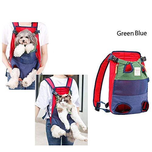 B-1 Transportadora Portátil Transpirable para Mascotas, Perro Gato Pequeños Resistente Backpack Plegable Transportín Portatil para Viaje Trekking,Green and Blue
