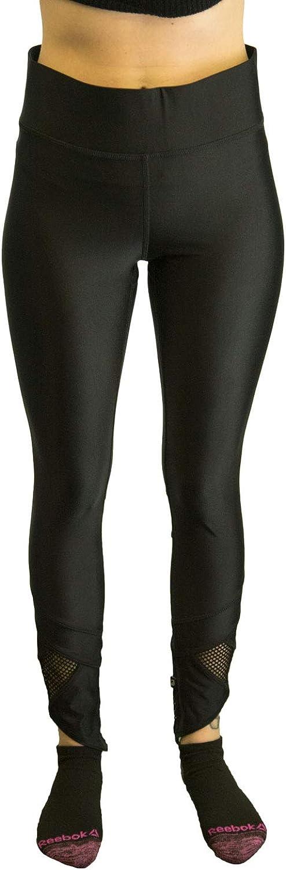 Terez Women's Slant Ankle Fishnet Leggings, Black, Large