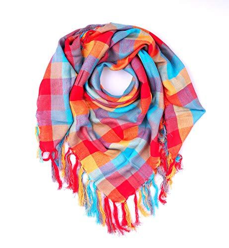 Trendfinding, foulard estivo, a quadretti, con frange, viscosa a quadri, viscosa (arancione)