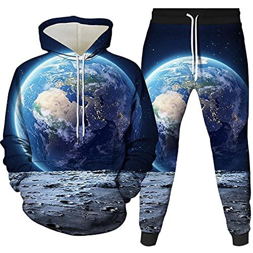 Sudaderas con Capucha Globo Espacial Unisex 2 Piezas Atuendo Casual Pullover para Hombre Suéter Ropa Juvenil Abrigo Cómodo Y Transpirable Azul Marino M