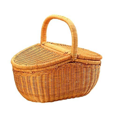 Xiao Yu Picknickkorb - Picknickkorb BBQ Einkaufskorb Rattan Garten Wind Lieferkorb Basteln Einkaufskorb (Size : L)