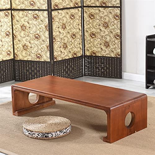 SHUJINGNCE Japonais Vintage Meubles en Bois d'intérieur Meubles Asiatique Tea Tea Salon Table Basse Rectangle 60 * 40cm Tatami Table de Plancher HW08 (Color : Black)
