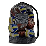 "BROTOU Extra Large Sports Ball Bag Mesh Socce Ball Bag Heavy Duty Drawstring Bags Team Work for Holding Basketball, Volleyball, Baseball, Swimming Gear with Shoulder Strap (24"" x 36"")"