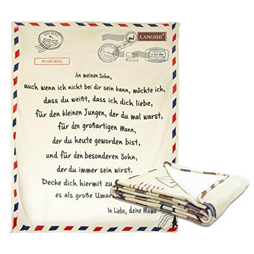 Brief Briefe Decke An Meinen Sohn Und Meine Tochter Super Weiche Decke Flanell Decke Mit Aufbewahrungstasche Für Schlafzimmer Living Warmes (Sohn,XXL)
