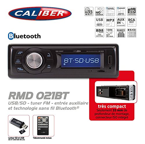 Autoradio USB/SD/AUX - FM Tuner avec Technologie Bluetooth - sans CD