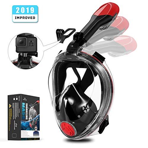 NASHONE Tauchmaske Vollgesichtsmaske Schnorchelmaske Vollmaske, Easybreath 3-in-1-Atemschlauch mit Faltbares Design, Zuverlässig Anti-Fog und Anti-Leck-Technologie mit 180°Sichtfeld für Erwachsene