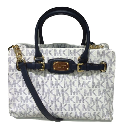 Newly released Michael Kors Hamilton Large EW Tote White/Navy Signature PVC Tote Beautiful White/Navy PVC Leather Signature MK plate in front