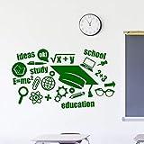 HFDHFH Calcomanías de Pared de educación Escolar Palabras Inspiradoras fórmula de Aprendizaje Pegatinas de Vinilo para Ventanas Estudio de Aula decoración de Interiores