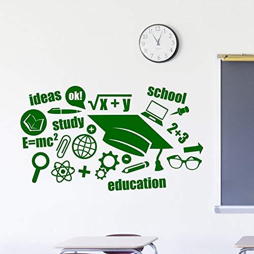 HGFDHG Calcomanías de Pared de educación Escolar Palabras Inspiradoras fórmula de Aprendizaje Pegatinas de Vinilo para Ventanas Estudio de Aula decoración de Interiores