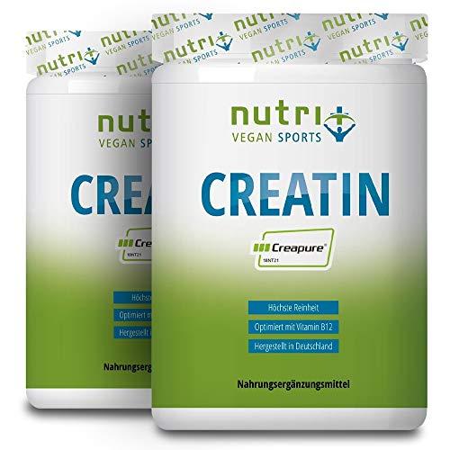 Creapure ® CREATIN MONOHYDRAT 1kg Pulver für mehr Kraft - 99,99% rein - höchste Dosierung - Ultrafeines Kreatin Neutral 1000g - Nutri-Plus Vegan - Premiumqualität aus Deutschland