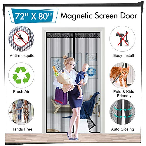72'(w) x 80'(h) Hands Free Magnetic Screen Door for Sliding French Doors, Full Frame Double Door Hook & Loop Bug Screen Mesh Curtain Keep Bugs Mosquitos Out,Black