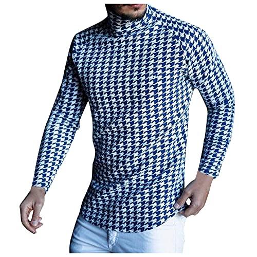 Luckycat Jersey de Cuello Alto con Estampado de Pata de Gallo para Hombre, Camiseta Informal de Manga Larga de Otoño Invierno Sudadera con Cuello Alto Blusa Ajustada