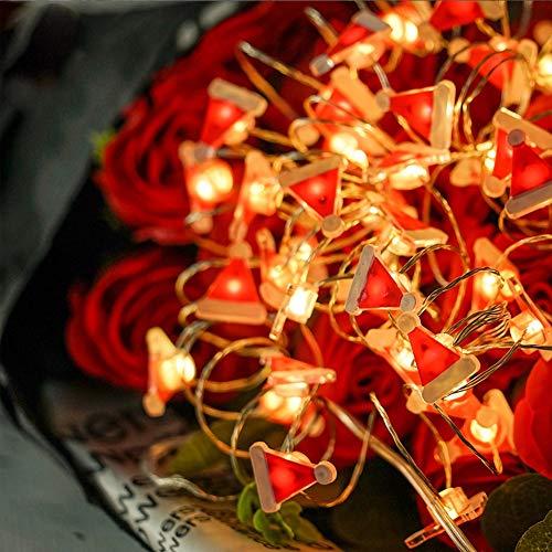LED lichtketting kerstmuts koperdraad snoer licht waterdicht batterij aangedreven kerstdecoratie warm wit (5 pakjes) meisjes slaapkamer, feest, bruiloft, kerstmis