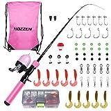 Hozzen Set da pesca per bambini, set da 59 pezzi, canna da pesca telescopica e mulinello da pesca, attrezzatura da pesca per bambini, accessori da pesca per bambini dai 3 ai 10 anni, colore: rosa