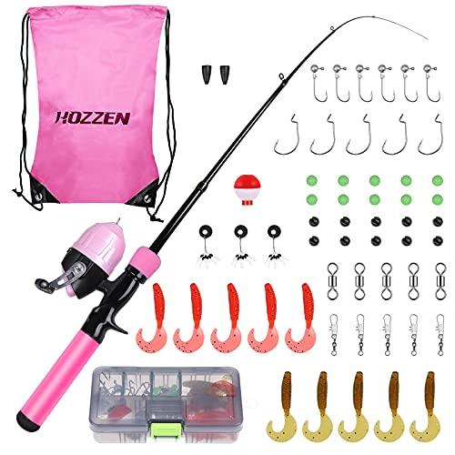 Hozzen Kit de pêche pour enfants 59 pièces, canne à...