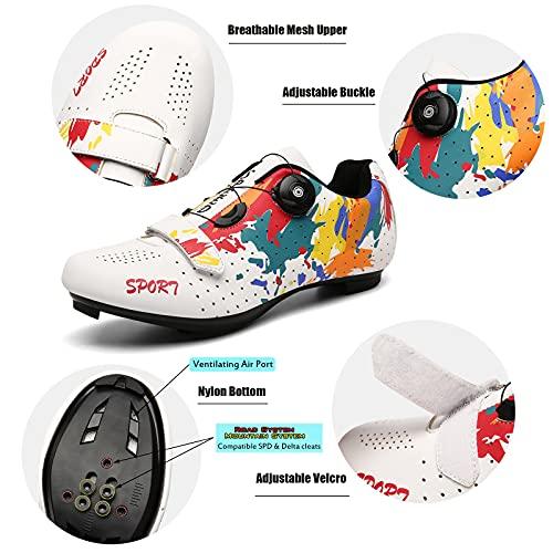 Zapatillas De Ciclismo Unisex, Zapatillas De Bicicleta De Carretera Y MTB Graffiti, Spin Shoestring Compatible SPD Look Delta Cycle Riding Cleat (White,39 (EU 40 1/3))