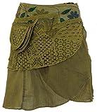 GURU-SHOP, Extravagante Falda Envolvente con Bordado y Pequeño Bolsillo Lateral, Olivo, Algodón, Tamaño:40, Faldas Cortas