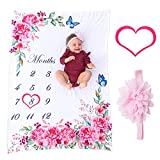 Bliss n' Baby Milestone Blanket for Baby Girl - Perfect Baby Age Blanket with Growth Chart Blanket - New Moms Set, Wrinkle Free, Washable, Dryable, Red Heart Wreath & Pink Headband- 54'x40'