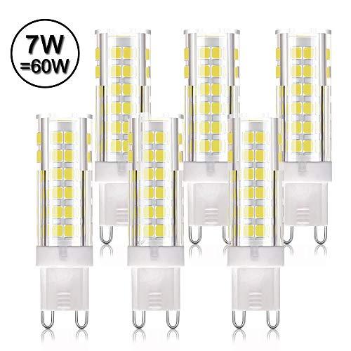 LAKES Lampadine LED G9 Bianco Freddo, Led g9 7w Super Luminoso (60W Alogena Equivalente) 6000K AC 220V 360°Angolo de Fascio 6 Pezzi