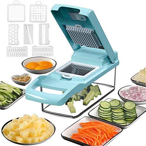Chopper de verduras 12 en 1 Mandoline Slicer Corter Chopper y Rallador de verduras Cortadora de queso Chopper de cebolla azul