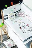 Pirulos Bonito Conjunto Edredón + Protector/Chichonera + Cojín Be Happy para Cuna Bebé, Medidas 62x125 cm Color Blanco y Gris