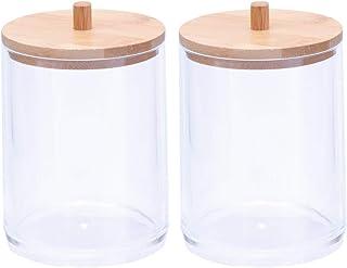 Yardwe Lot de 2 tampons en coton avec tige pour pot de maquillage Transparent