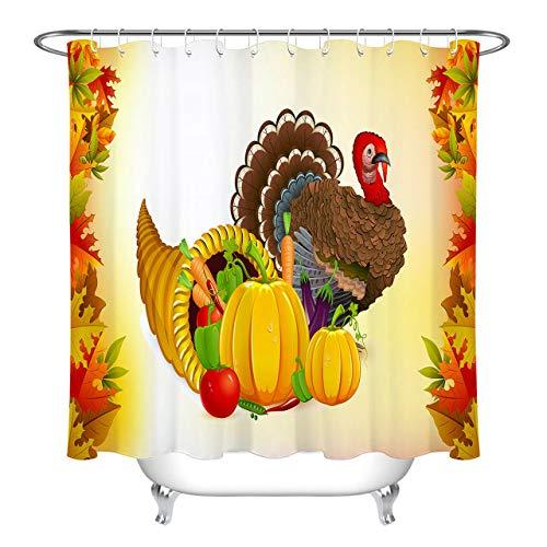 LUODAN Obst Gemüse Türkei ThanksgivingDekorativer wasserdichter Duschvorhang mit HD-Druck, geeignet für Badezimmer, 12 freie Haken, 180x180 cm