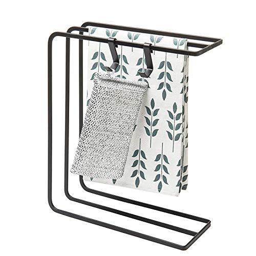 Étendoir à linge de cuisine avec 2 crochets en éponge, porte-serviettes Comptoir Metal 3 bras, porte-serviettes sur pied sans perçage noir