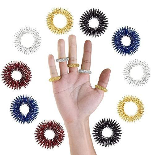 Massage Ring,UEETEK 10 Stücke Akupressur Ringe Chinesische Medizin Finger Massage Ring(2 Gold + 2 Silber + 2 Rot + 2 Blau + 2 Schwarz)