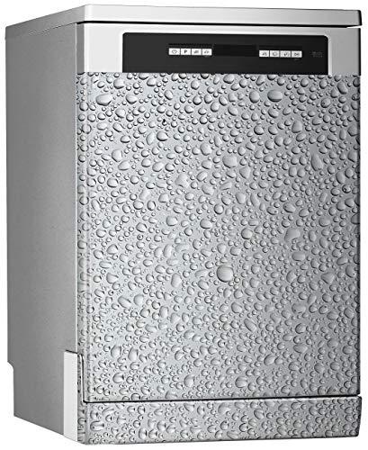 MEGADECOR Vinilo Decorativo para Lavavajillas, Medidas Estandar 67 cm x 76 cm, Gotas de Agua sobre Fondo Gris