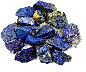 "Bingcute 1lb Bulk Raw Rough Lapis Lazuli Stones Raw Natural Stones for Tumbling,Cabbing,Polishing,Wire Wrapping,Gem Mining, Wicca and Reiki Crystal Healing-Large 1""-1.5"""