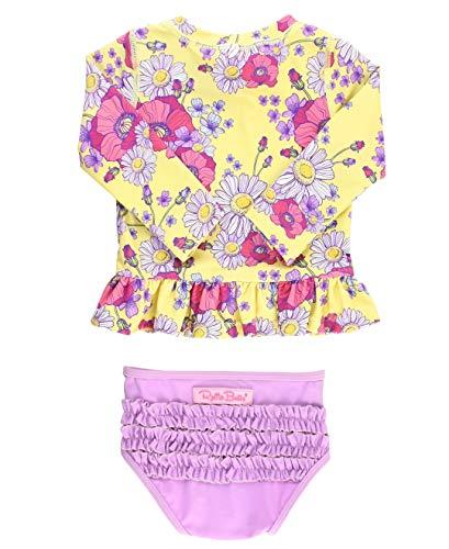 RuffleButts Girls Daisy Delight Lilac Long Sleeve Rash Guard Bikini - 4T