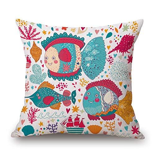 18' Funda Almohada Cuadrado Throw Pillow Case Poliéster Cartoon Sea World Concha Carpa Abigarrada Concha Coral Creativos Sofá Fundas Cojines Casa Oficina Coche