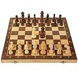 Inicio Accesorios Tablero de juego plegable y para las piezas de ajedrez de madera artesanales Juego de ajedrez para principiantes para niños y adultos Juego de tablero de ajedrez de madera con URG
