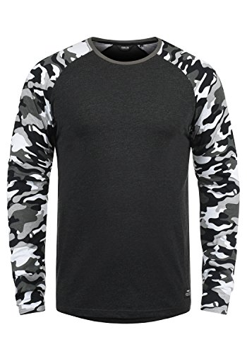 !Solid Cajus Camiseta De Manga Larga Camuflaje Estilo Militar Estampada Longsleeve para Hombre con Cuello Redondo De 100% algodón, tamaño:M, Color:Dark Grey Melange (8288)