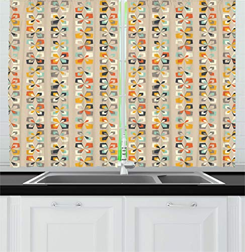 """Lunarable Geometric Kitchen Curtains, Mid Century Modern Pattern of Colorful Retro Shapes and Forms Art Print, Window Drapes 2 Panel Set for Kitchen Cafe Decor, 55"""" X 39"""", Tan"""