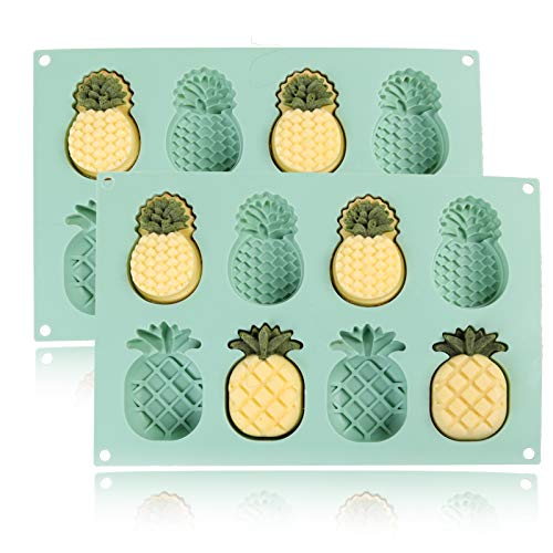 2 Pcs 8 Cavity Silicone Molds Pineapples,Funny Pineapple for Ice Cube Trays, Chocolate Candy, Crayon, Keto Fat Bomb, Cake Decoration
